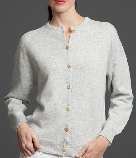 Women's Deluxe Cashmere Cardigan with Gold Buttons