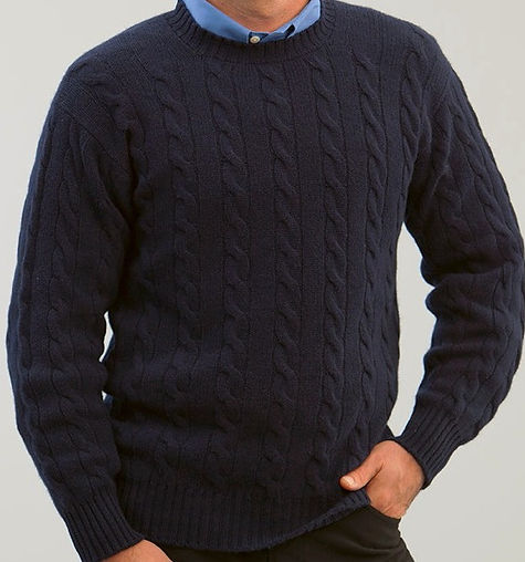 Men's Thick Cashmere Cable Pullover