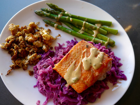 Wild Salmon with Ginger-Sesame Braised Red Cabbage