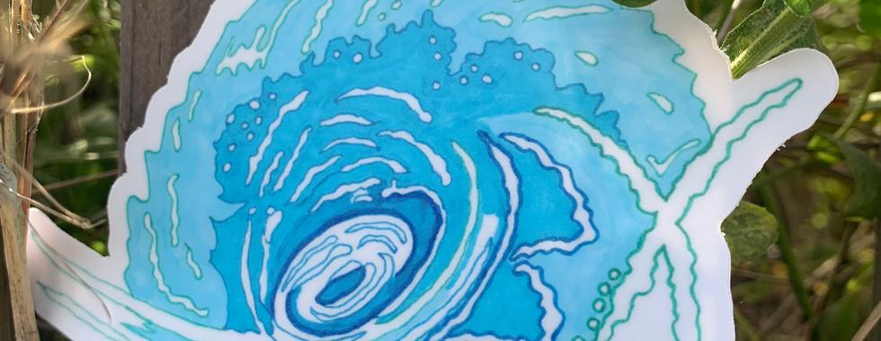 OBX wave sticker