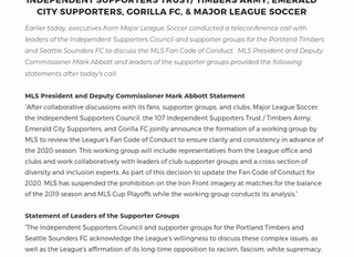A Joint Statement From ISC, 107IST Independent Supporters Trust/ Timbers Army, Gorilla FC, Emerald C