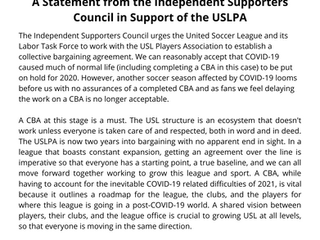 A Statement from the Independent Supporters Council in Support of the USLPA