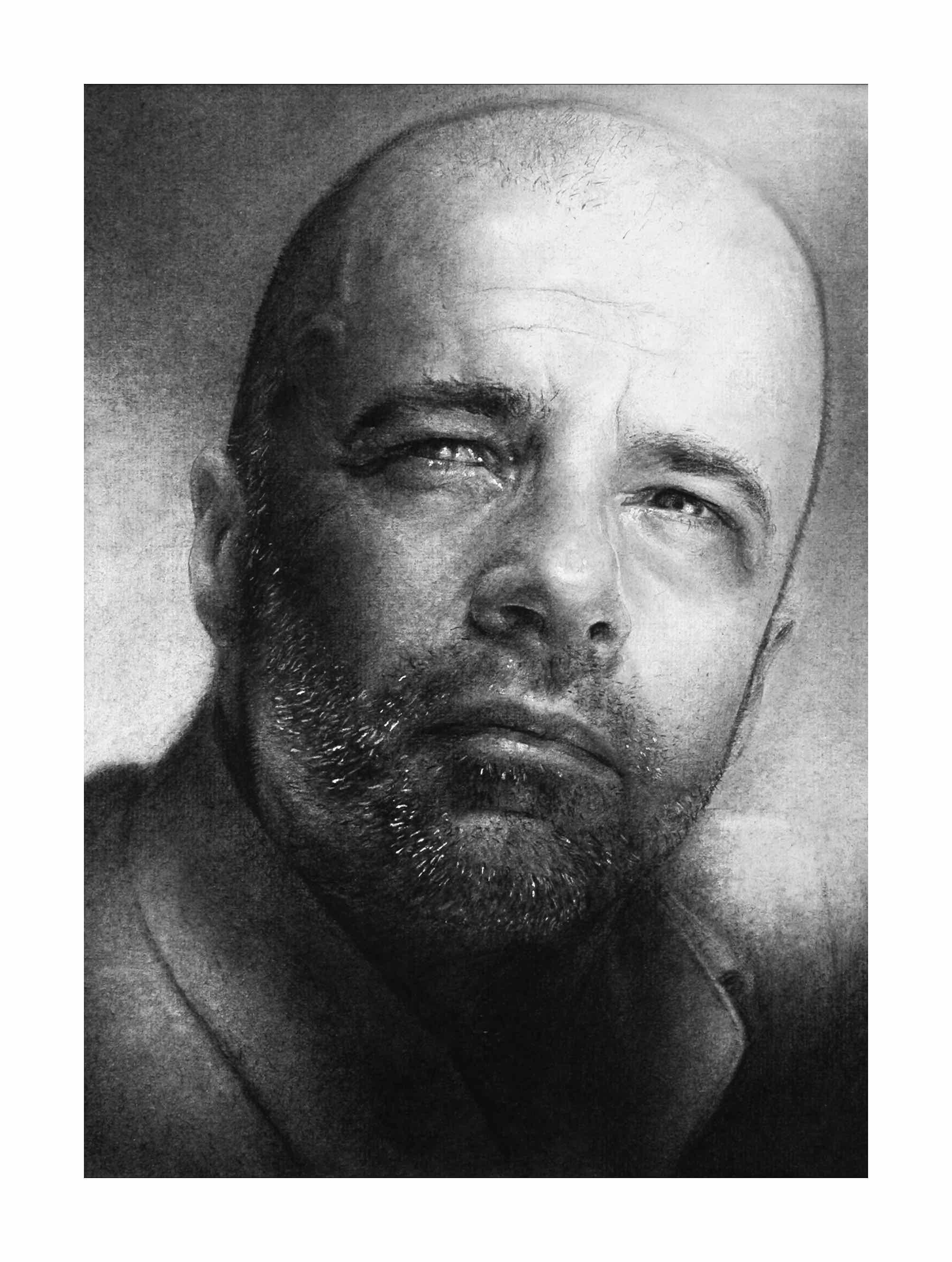 Autoportrait 20X30cm Pierre noire et papier