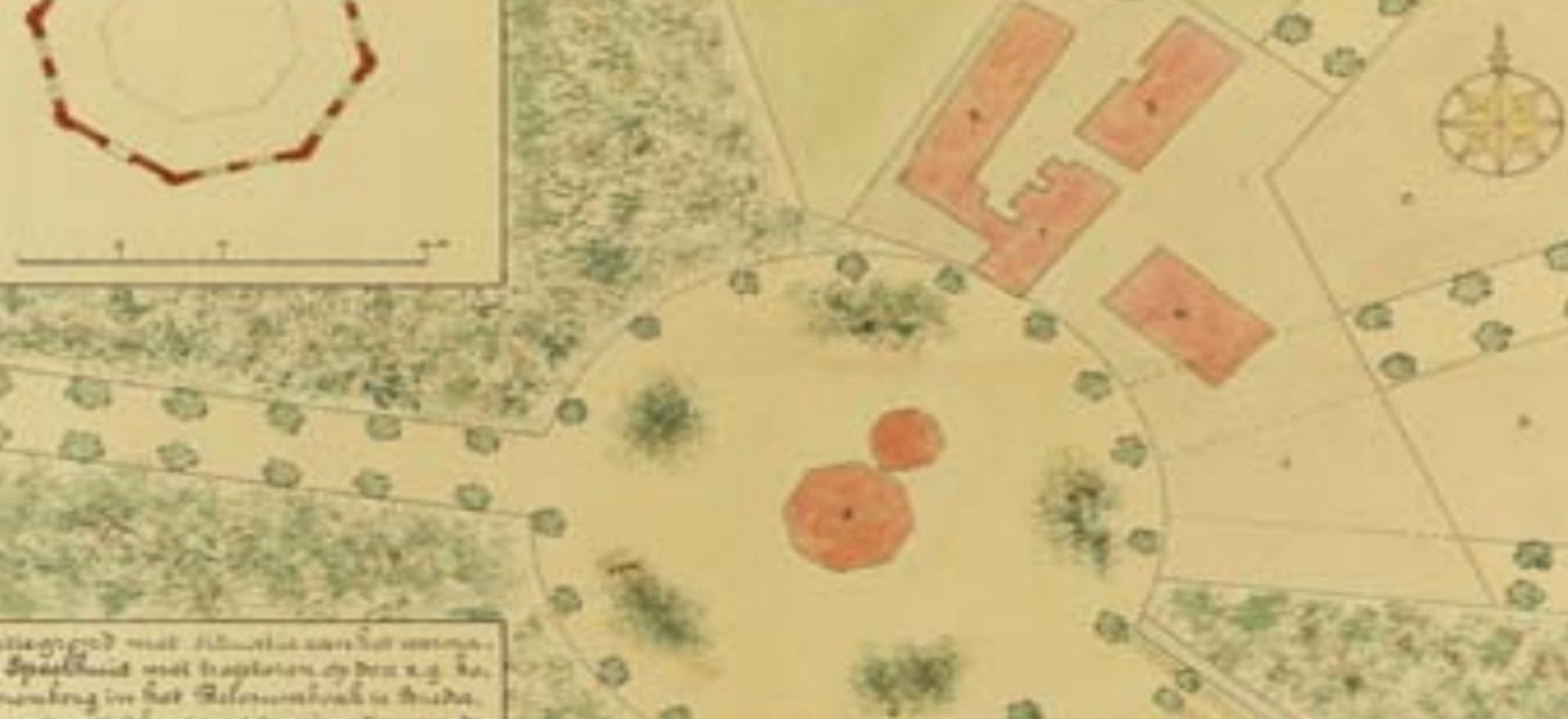 Oorspronkelijke indeling van de warande bij de Speelhuislaan.  Het speelhuis in het Belcrumbos bij Breda. De ontwikkeling van een warandepark door de Nassaus tussen 1610 en 1621. (2020). [Foto]. Geraadpleegd van https://deoranjeboom.nl/wp-content/uploads/2018/04/Jb-62-2009-03.pdf