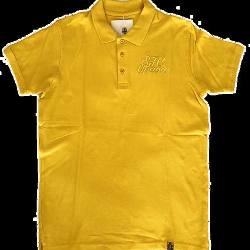 Žluté polo tričko s vyšitým nápisem