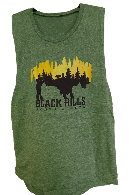 Forest Green Muscle Tank Gold Shimmer and Black