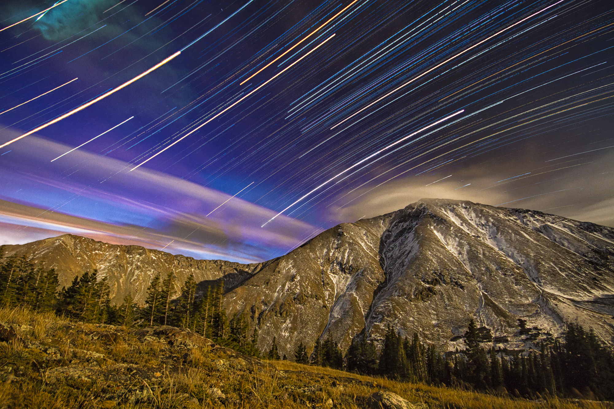 Torreys startrails with meteorite