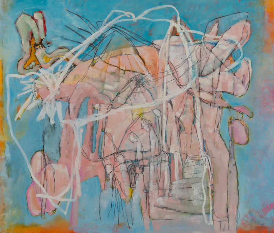Enter the Canyon_oil paint, oil stick and graphite on paper_44x52_2016.jpg