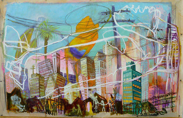 City of Angels_oil paint, oil stick and
