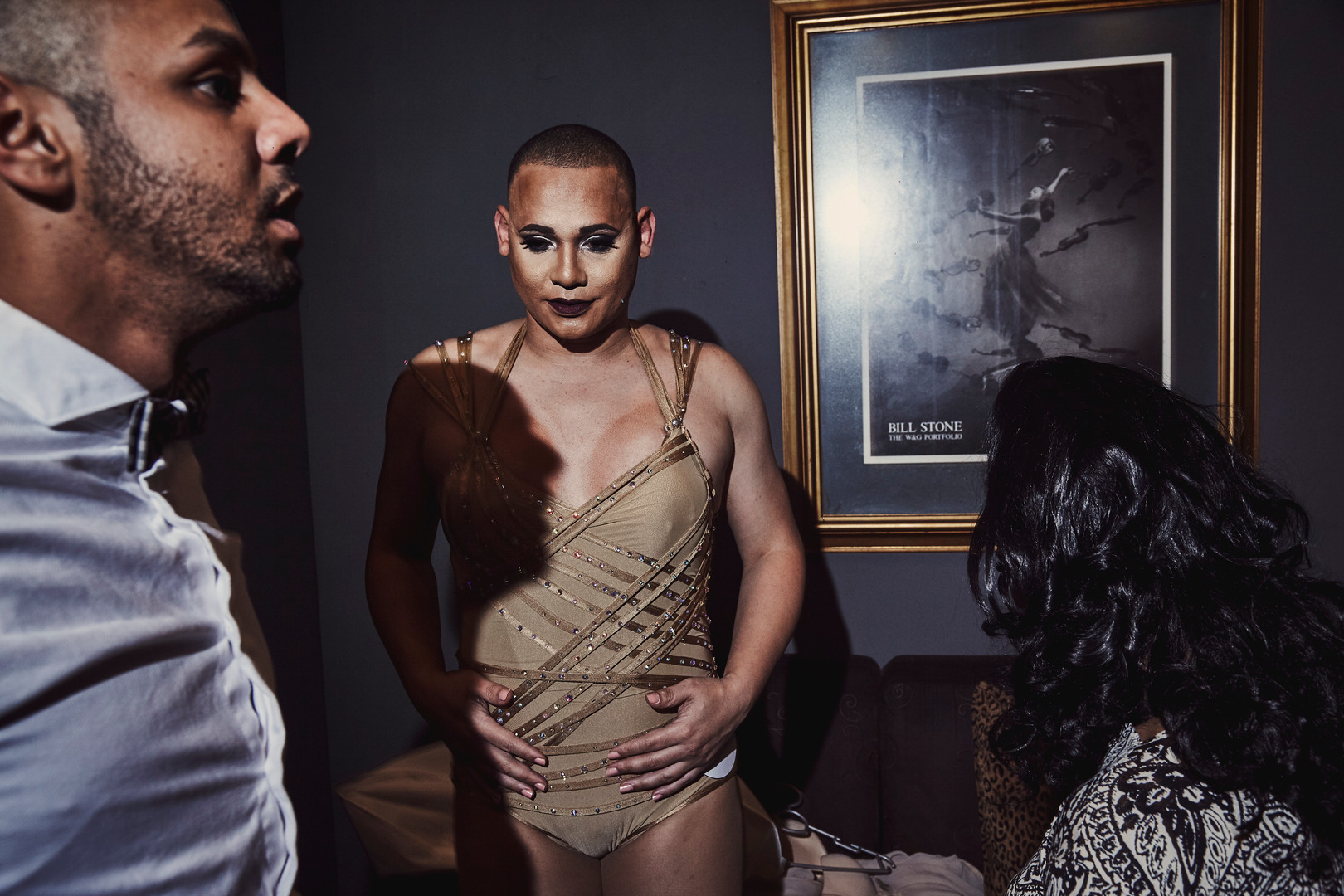 Skyer Barrymore (pictured middle) gets ready for the swimwear category of the LGBT Cape Peninsula pageant that was hosted at Galaxy nightclub in Athlone, Cape Town.