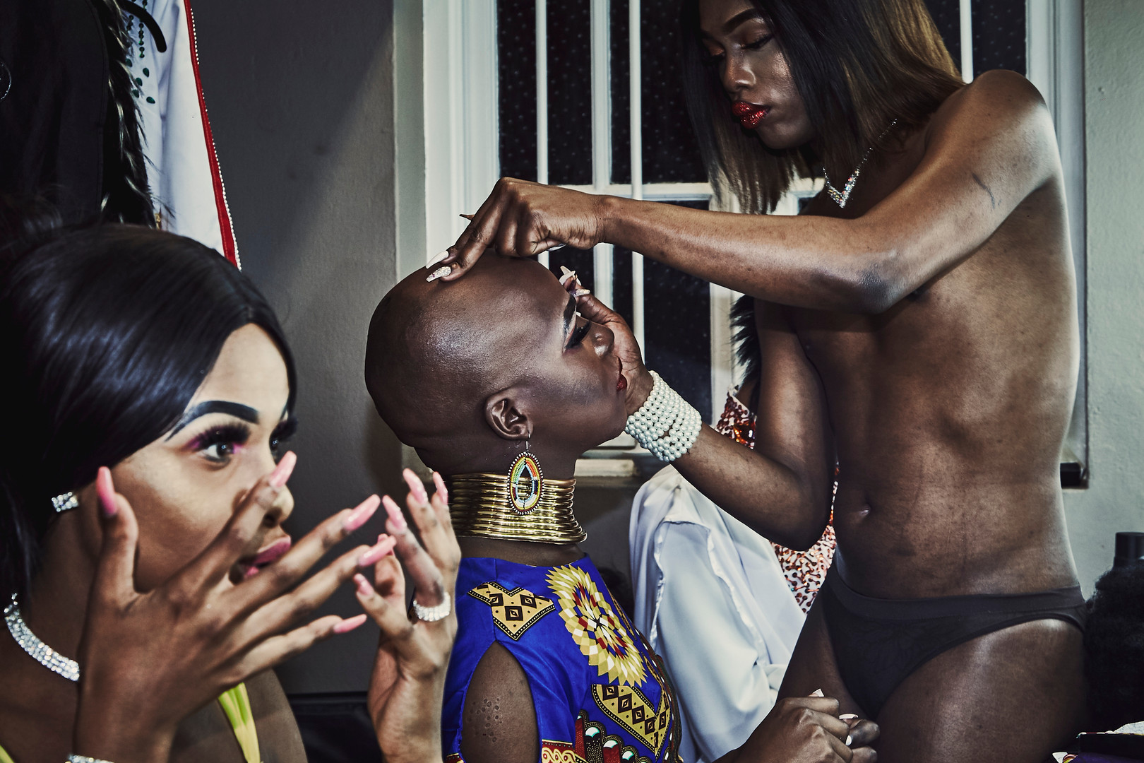Noxolo Grootboom helps Belinda Qaqamba Fassie with her make-up backstage at the Miss Drag South Africa pageant which was held in September 2018 at the Opera House in Port Elizabeth.
