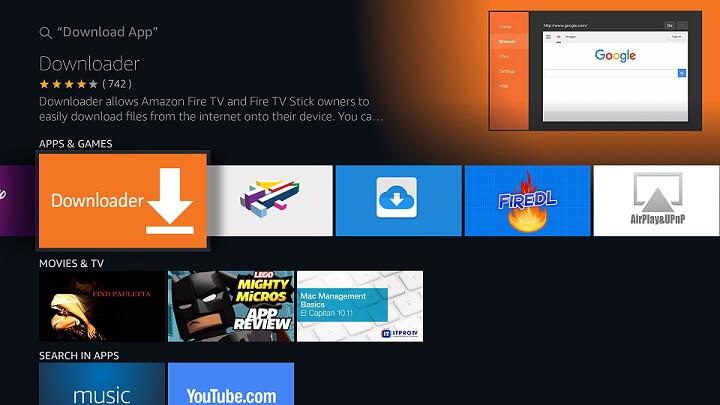 Downloader App on Firestick