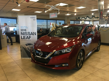 A client test drives the 2018 Nissan LEAF at the event.