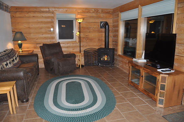 Livingroom side of front room with sofa bed and gas fireplace - Daniels Lake Cabins/Kenai Peninsula, Alaska/Vacation Rentals