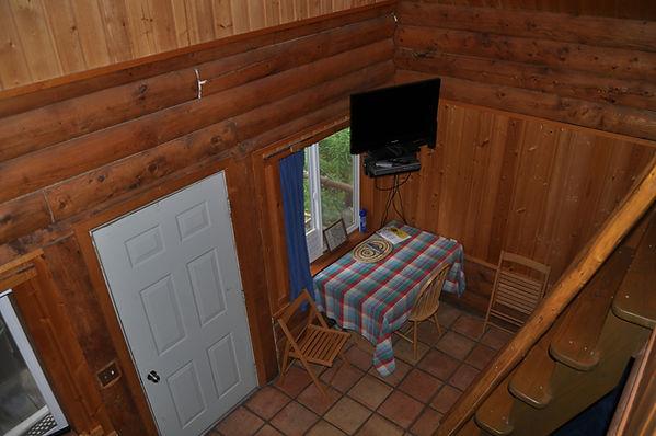 Dining with TV - Daniels Lake Cabins/Kenai Peninsula, Alaska/Vacation Rentals