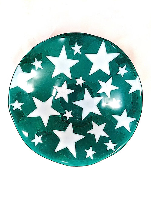 Green and White Stars Ruffle Bowl