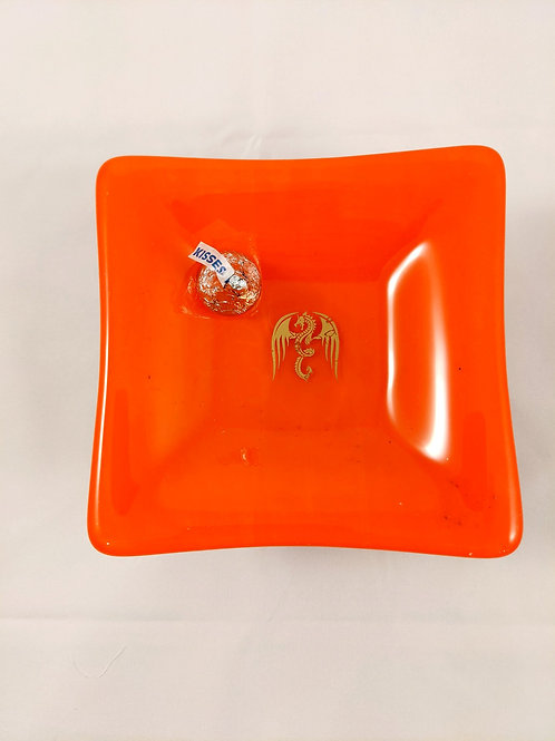Orange with Gold Dragon Square Dish