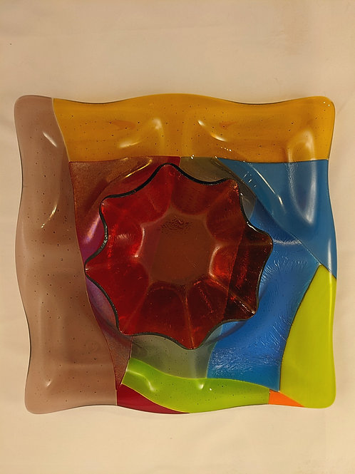 4 Compartment Tray (multi-color)  with Ruffle Bowl(orange)