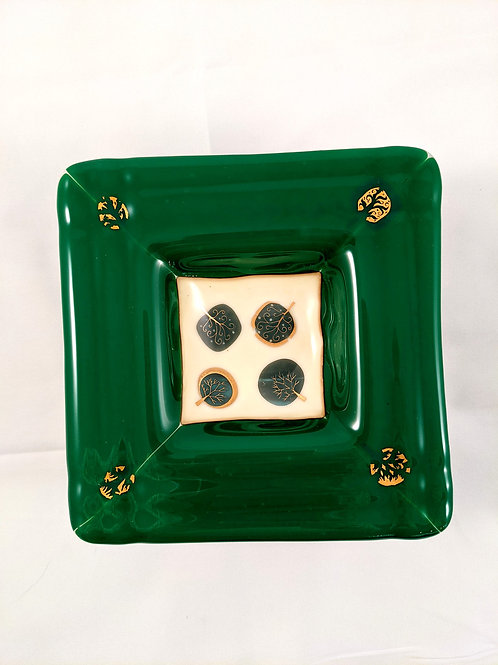 Green and Vanilla with Gold Designs Square Dish