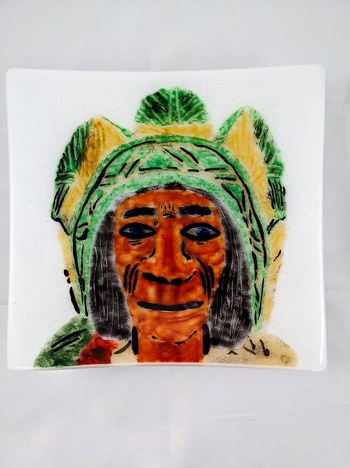 Wooden Indian Head Portrait Platter