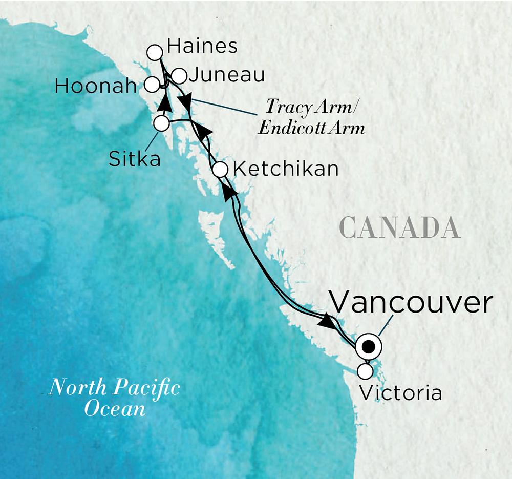 Crystal Symphony Alaskan Grandeur Itinerary Map