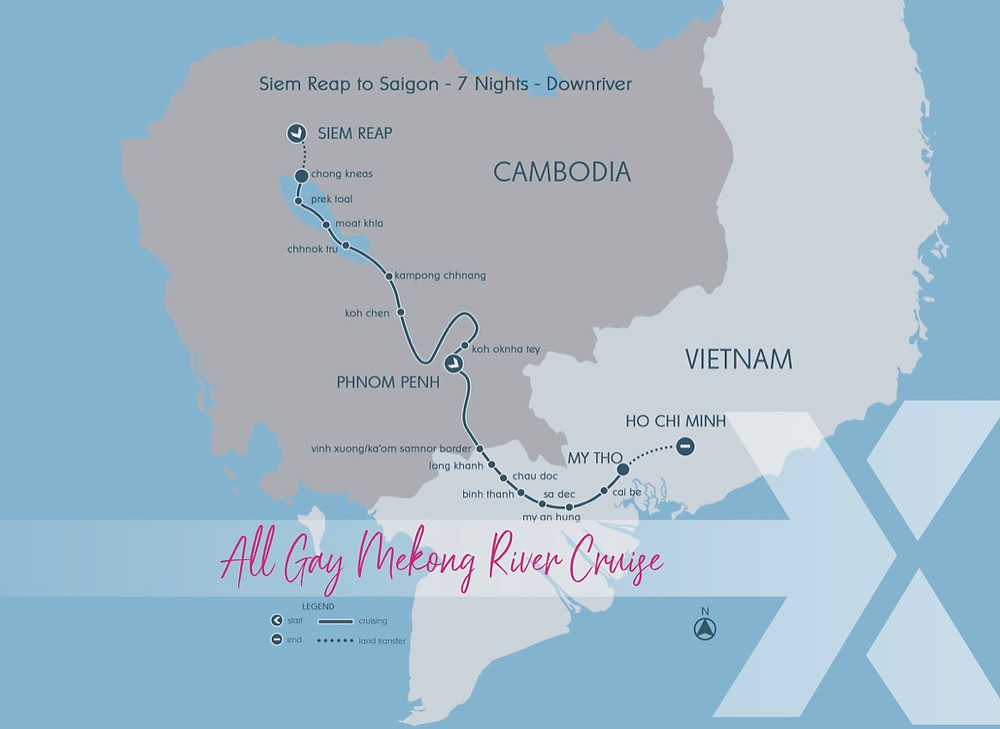 Aqua Mekong All Gay Cruise Trip Map