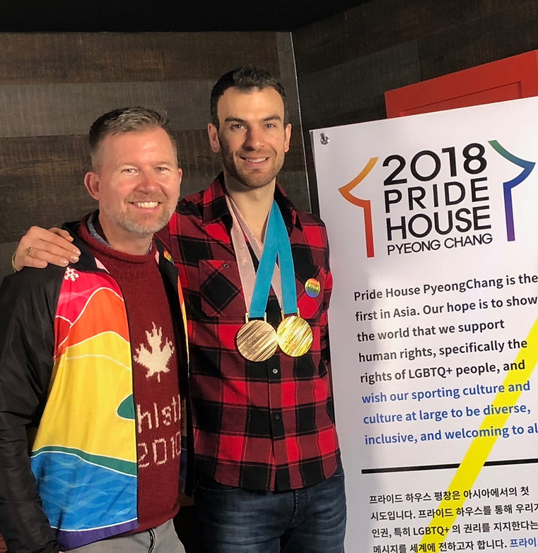 Dean Nelson Travel expert with Olympian Eric Radford in PyeongChang Korea Pride House