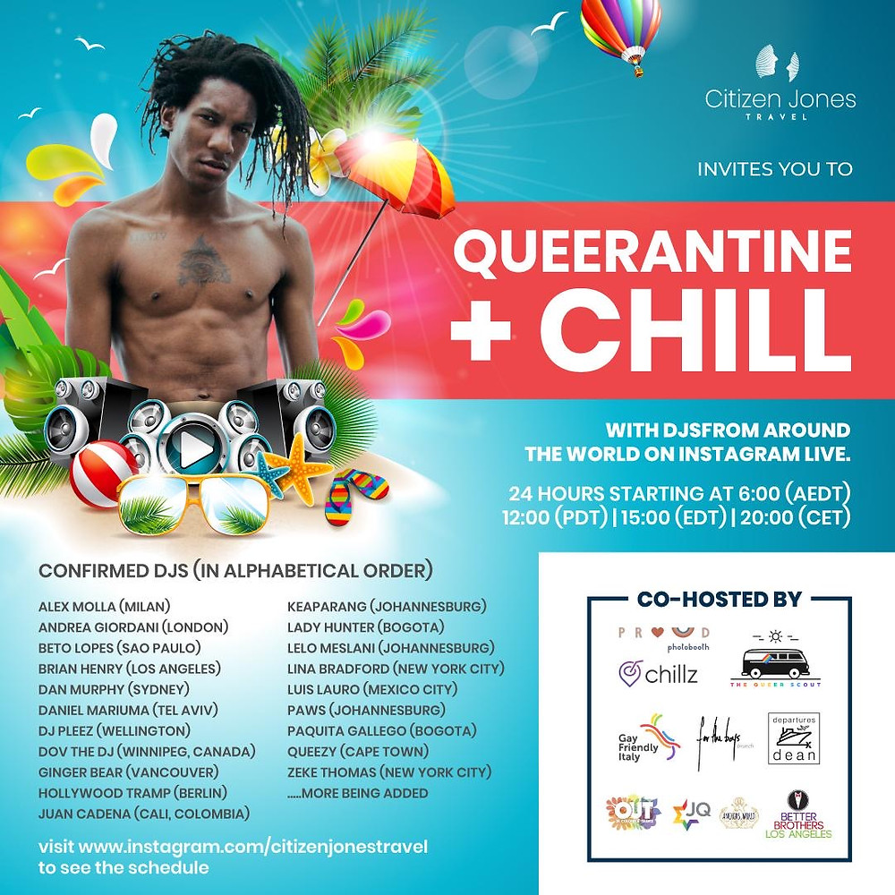 Queerantine + Chill - a global queer DJ experience celebrating the love of gay travel
