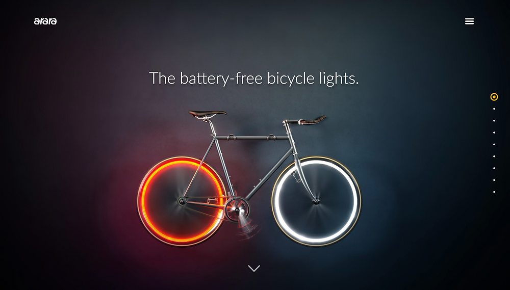 """alt=""""bike with battery-free red and white bicycle light"""">"""