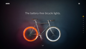 "alt=""bike with battery-free red and white bicycle light"">"