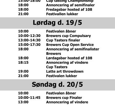 Program for Dansk Kaffefestival 2018