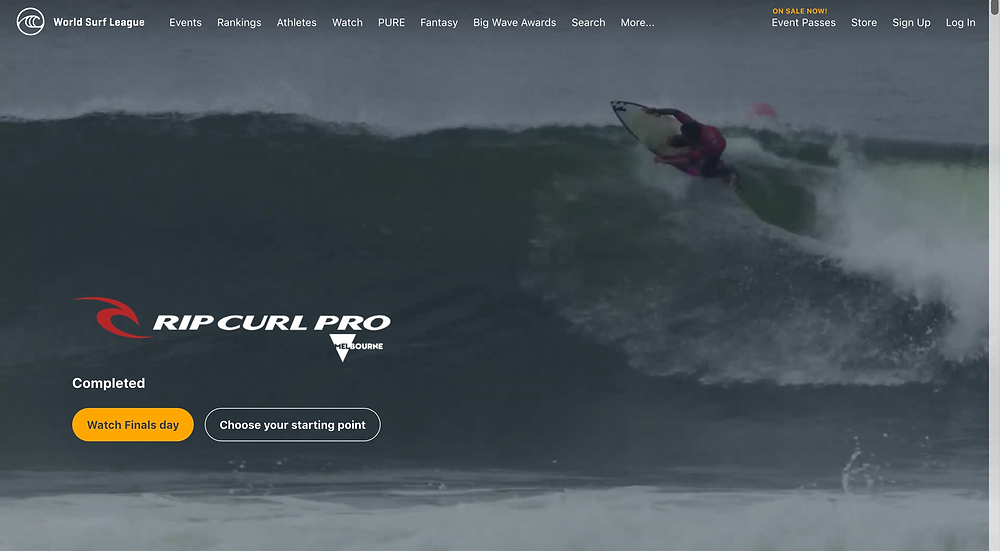 "alt=""man surfing wave in rip curl pro competition"""