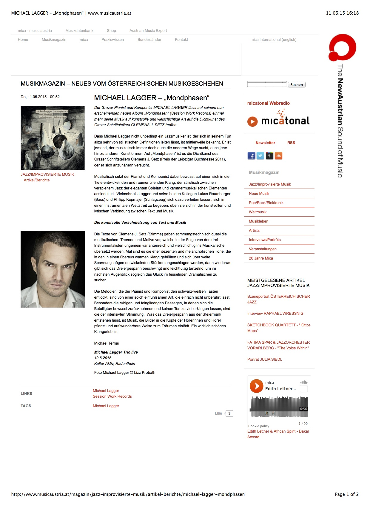 "MICHAEL LAGGER – ""Mondphasen"" _ www.musicaustria.at"