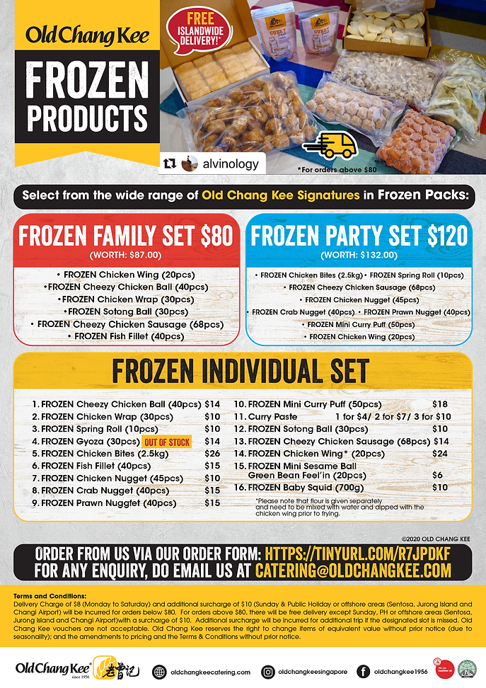 OCK Catering Frozen Food Delivery 290920