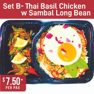 Asian Specialty Set B- Thai Basil Chicken with Sambal Long Bean