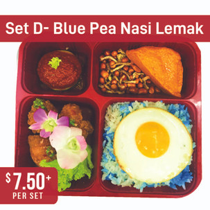 Premium Local Bento Set D- Blue Pea Nasi Lemak