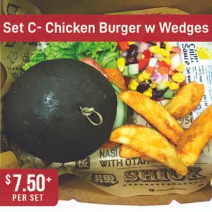 Western Bento Set C - Chicken Burger with Wedges