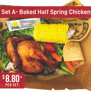 Western Bento Set A - Baked Half Spring Chicken