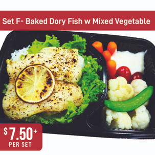 Western Bento Set F - Baked Dory Fish with Mixed Vegetable