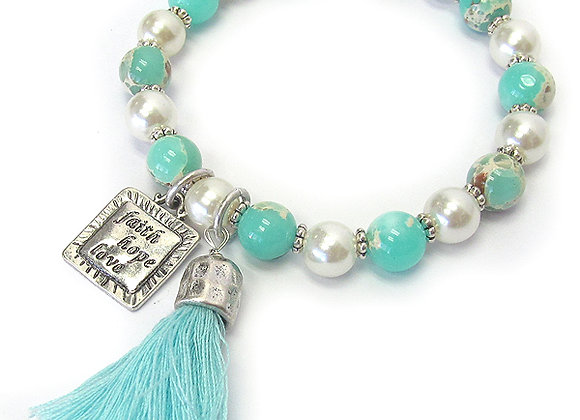 Teal, Silver, and Pearl Inspirational Bracelet