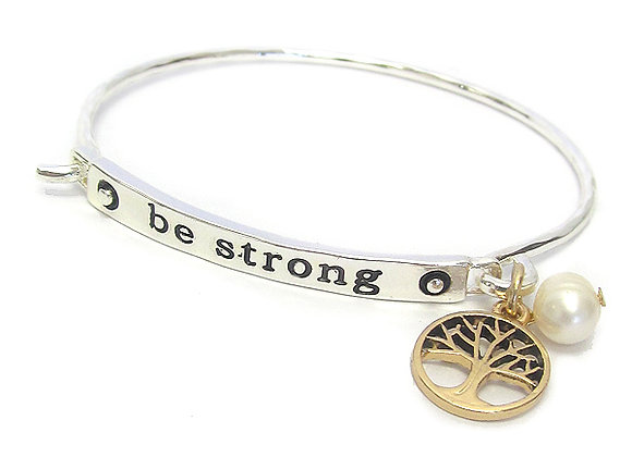 Silver Be Strong Wire Bangle Bracelet