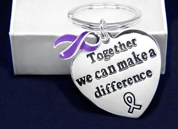 Purple Ribbon Awareness Keychain
