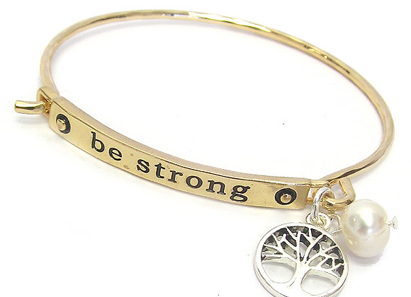 Gold Be Strong Wire Bangle Bracelet