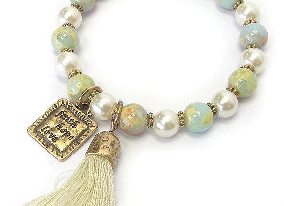Cream and Gold Tassel Bracelet
