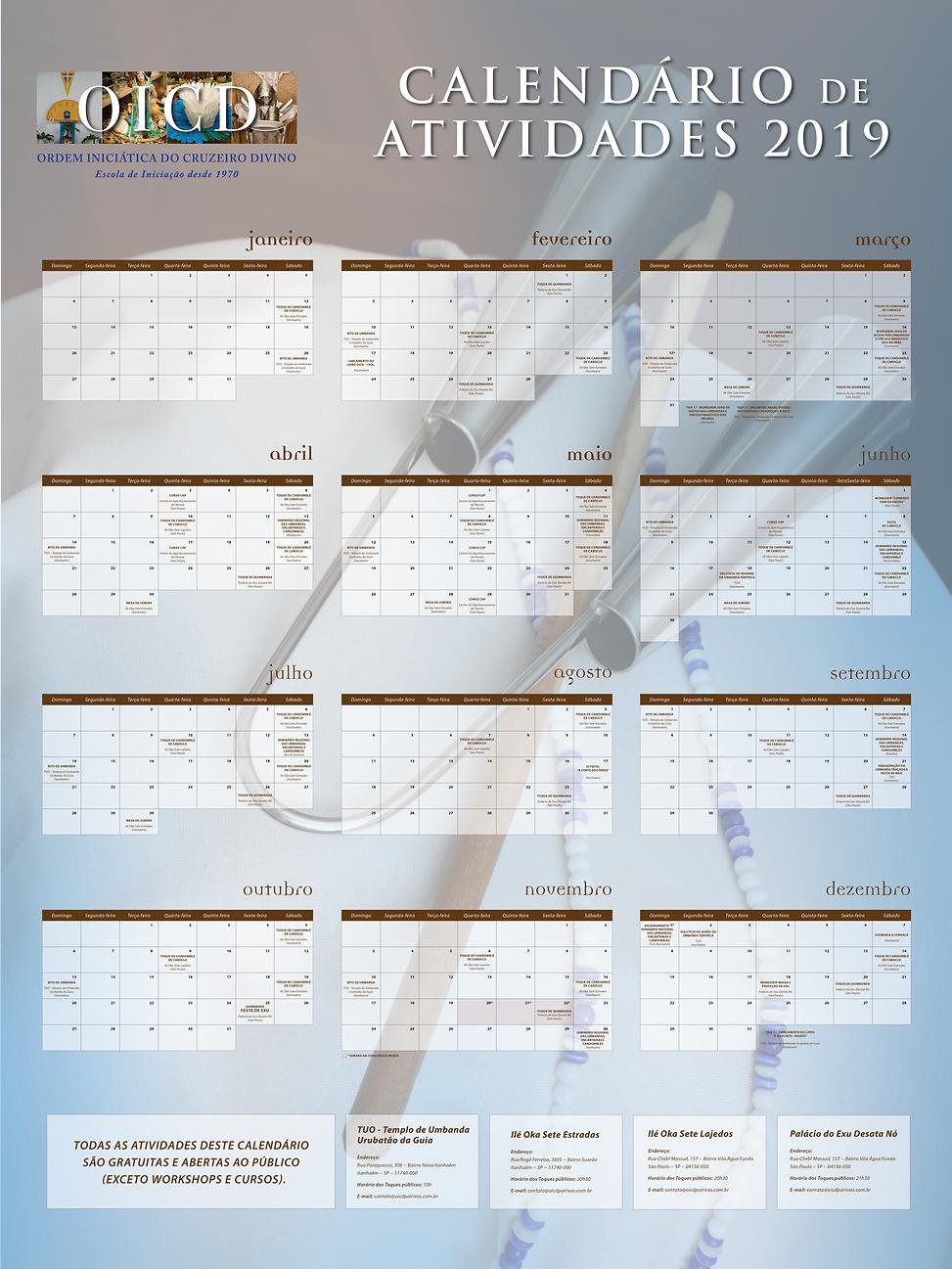 Cronograma da OICD 2019