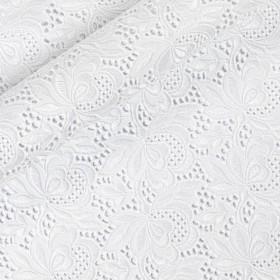 Tissu en coton avec broderie florale blanche