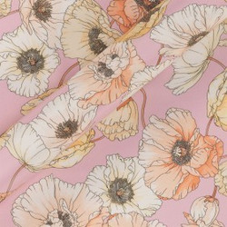 Tissu imprimé floral en crêpe satin de soie
