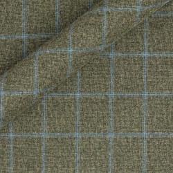 Tissu à carreaux en coton, lin et laine