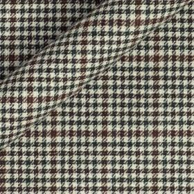 Tissu pied de poule en pure laine vierge, coton et lin