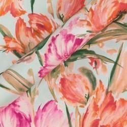 Tissu imprimé floral sur twill de soie